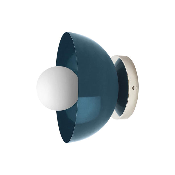 nickel slate blue hemi dome wall sconce 8 inch dutton brown lighting mid century modern