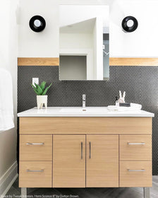 black hemi wall sconce vanity lighting by Dutton Brown. Space by Tweak Interiors. _hover