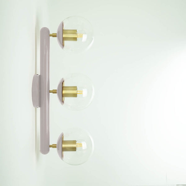 brass barely icon 3 globe sconce bathroom vanity lighting by Dutton Brown.
