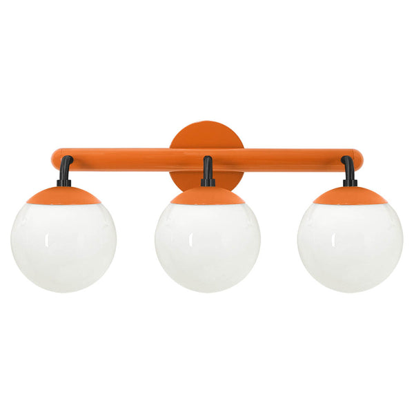 black and orange legend 3 globe vanity wall sconce dutton brown lighting