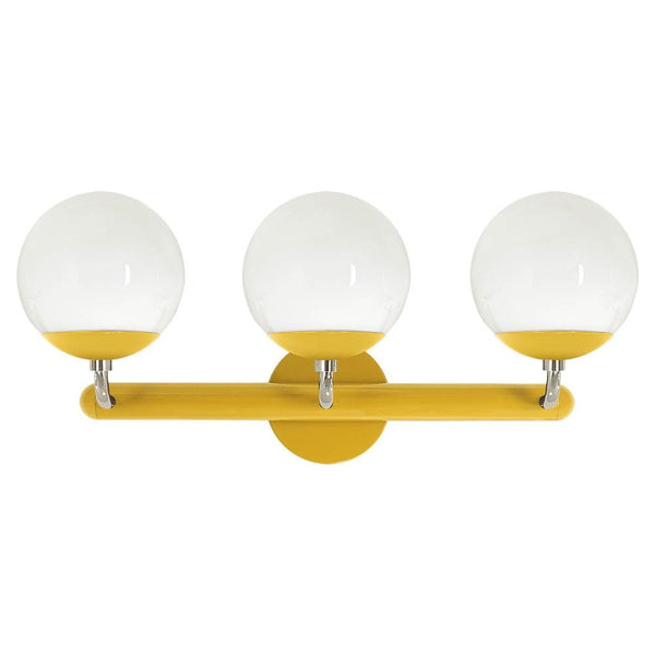 nickel and ochre legend 3 globe vanity wall sconce dutton brown lighting