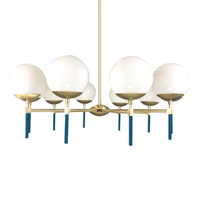 brass slate blue lolli globe chandelier 36 in dutton brown lighting