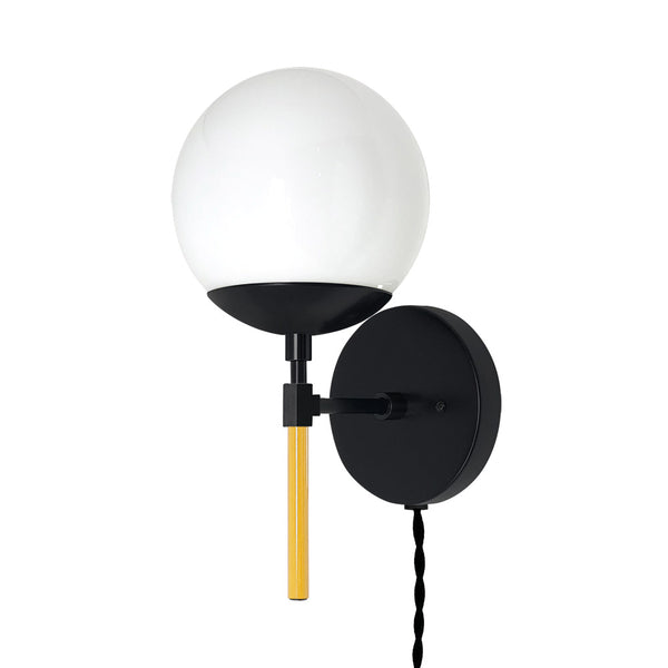 black ochre lolli globe plug-in sconce 6 inch dutton brown lighting