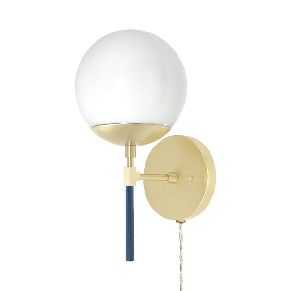 _hover brass slate blue lolli globe plug-in sconce 6 inch dutton brown lighting