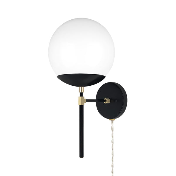 brass black lolli globe plug-in wall sconce 8 inch dutton brown lighting