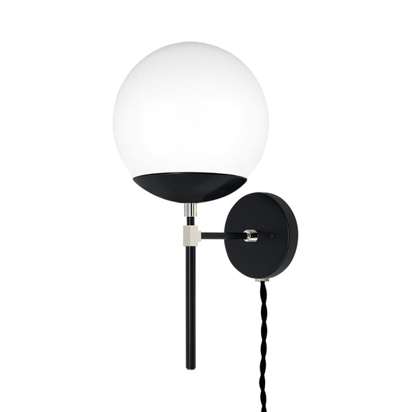 black nickel lolli globe plug-in wall sconce 8 inch dutton brown lighting