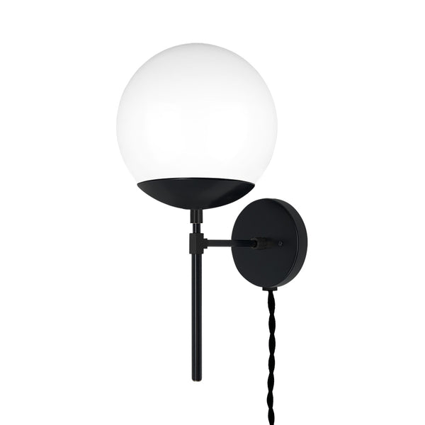 black lolli globe plug-in wall sconce 8 inch dutton brown lighting _hover