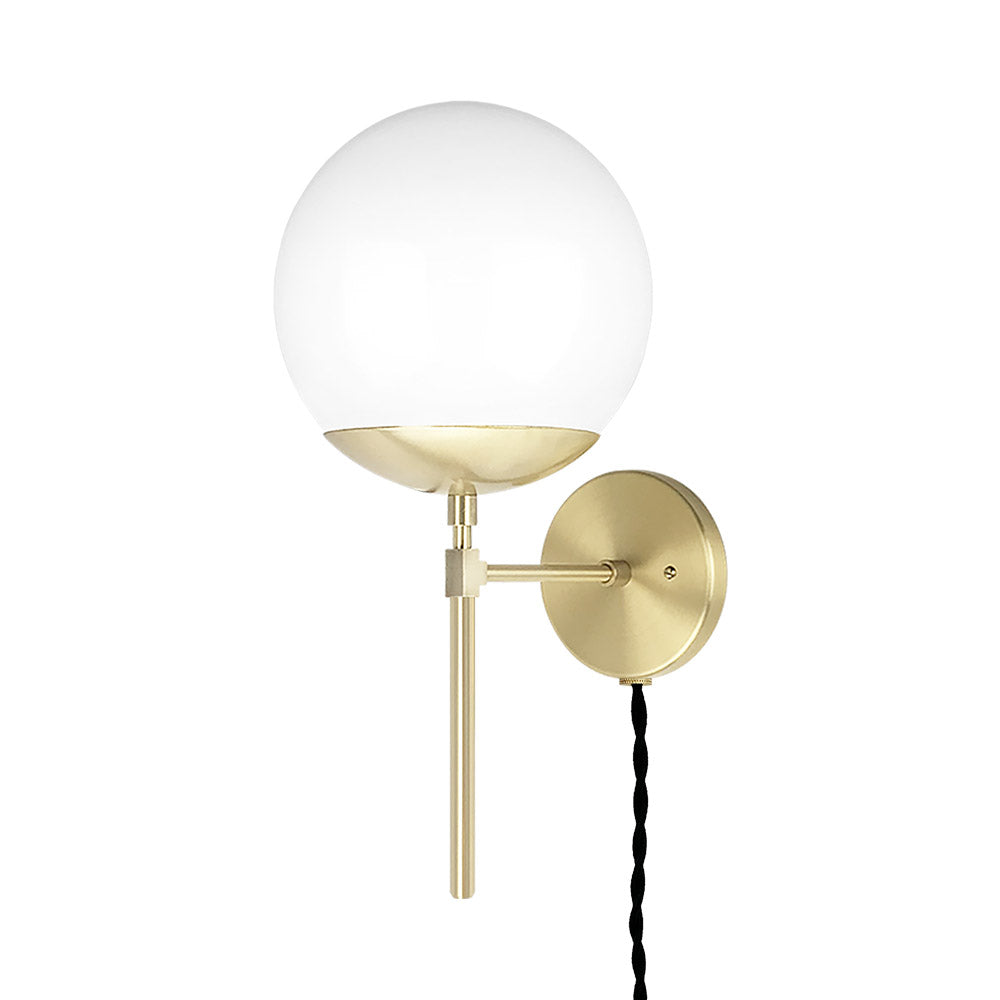 brass lolli globe plug-in wall sconce 8 inch dutton brown lighting
