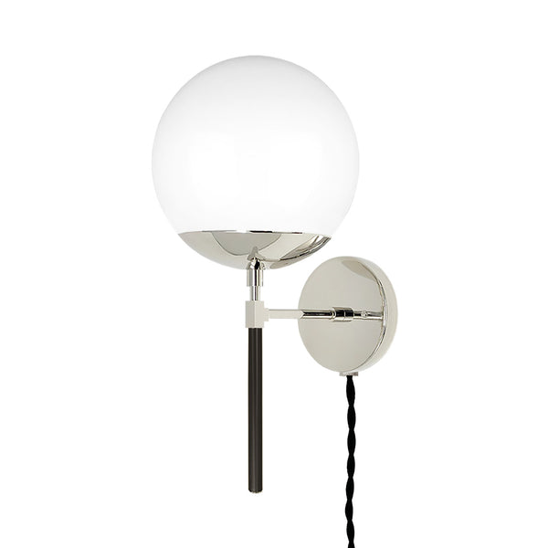 nickel black lolli globe plug-in sconce 8 inch dutton brown lighting