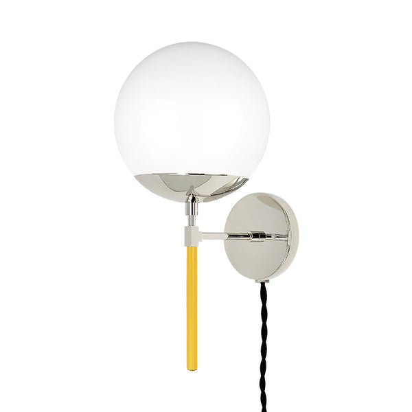 nickel ochre lolli globe plug-in sconce 8 inch dutton brown lighting