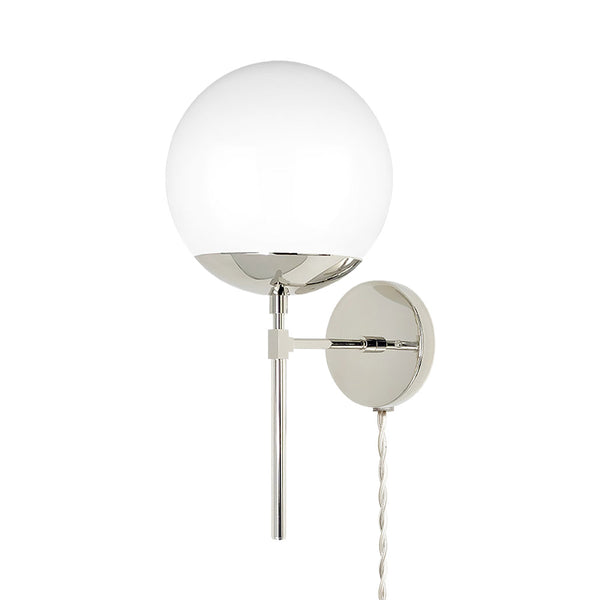 nickel lolli globe plug-in wall sconce 8 inch dutton brown lighting