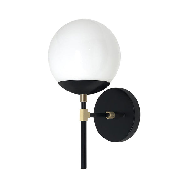 wall sconce lights mid century modern lolli sconce 6 inch black brass white globe light fixture