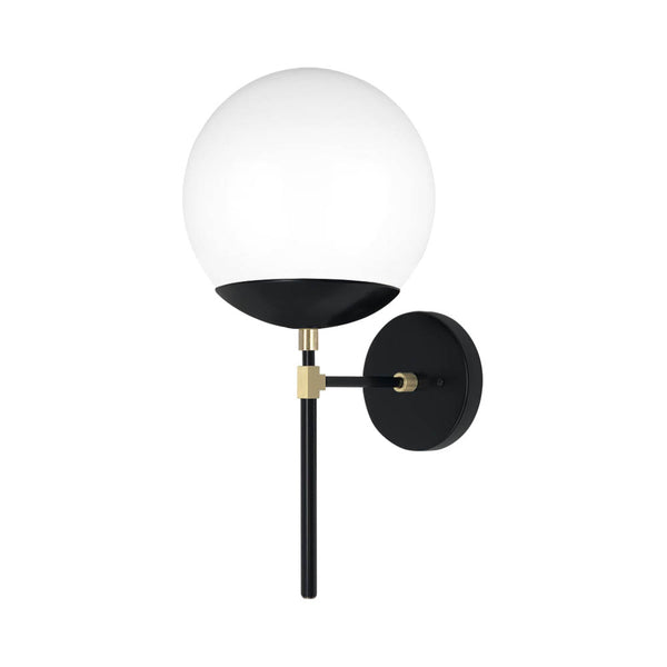 black and brass lolli globe wall sconce 8'' dutton brown lighting
