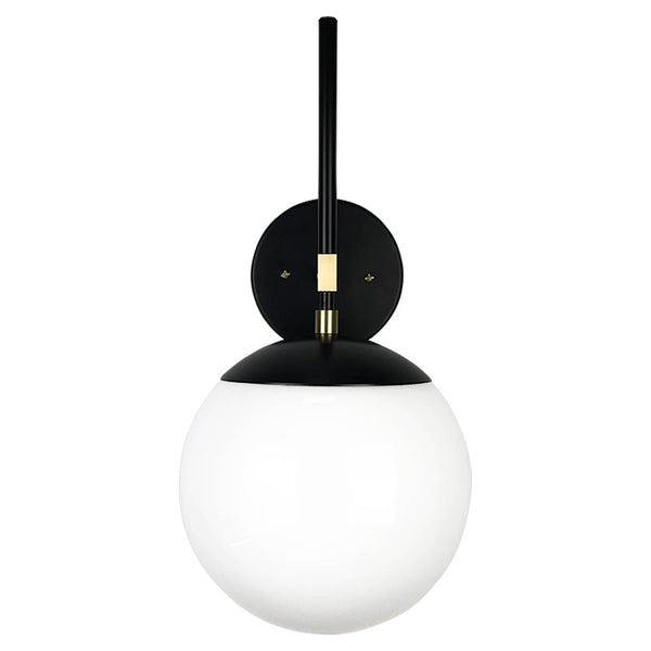 wall sconce lights mid century modern lolli sconce 8 inch black brass white globe light fixture _hover