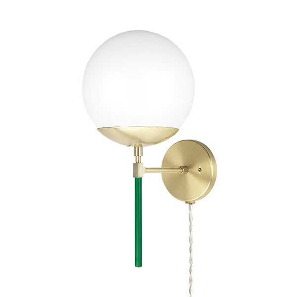 brass kelly green lolli globe plug-in sconce 8 inch dutton brown lighting