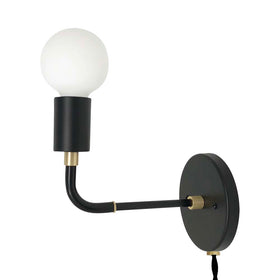 black brass long snug plug-in wall sconce lighting dutton brown
