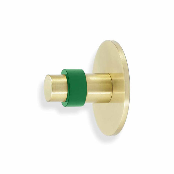 brass and kelly green minx wall hook dutton brown hardware