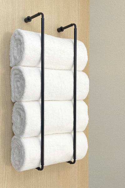 "Throne towel rack 28"" bathroom hardware satin black Dutton Brown"