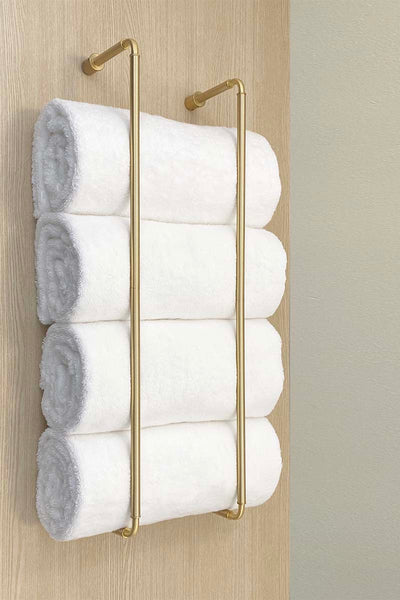 "Throne towel rack 28"" satin brass bathroom hardware Dutton Brown"