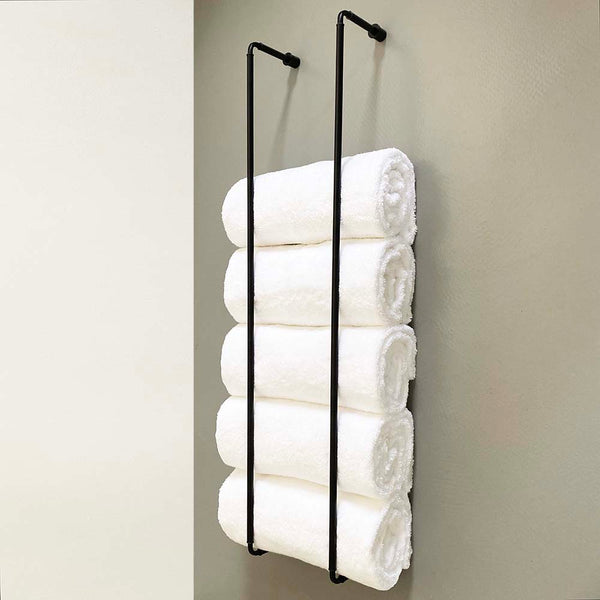 "Throne towel rack 40"" satin black bathroom hardware Dutton Brown"