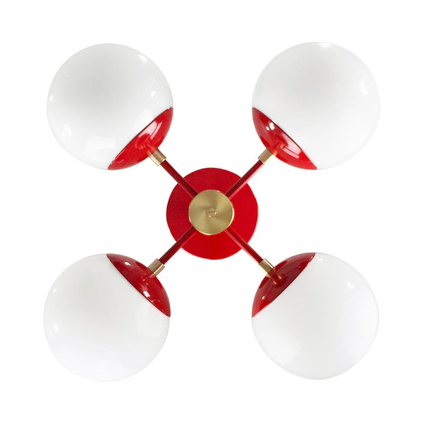 brass red orbi 20'' globe chandelier dutton brown design lighting