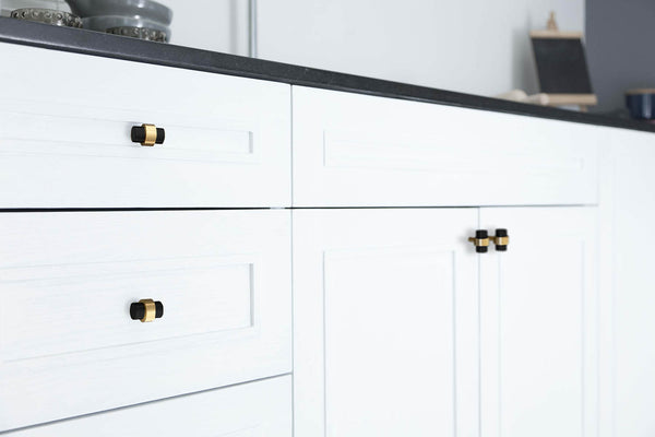 persona knob hardware satin brass kitchen cabinets by Dutton Brown.