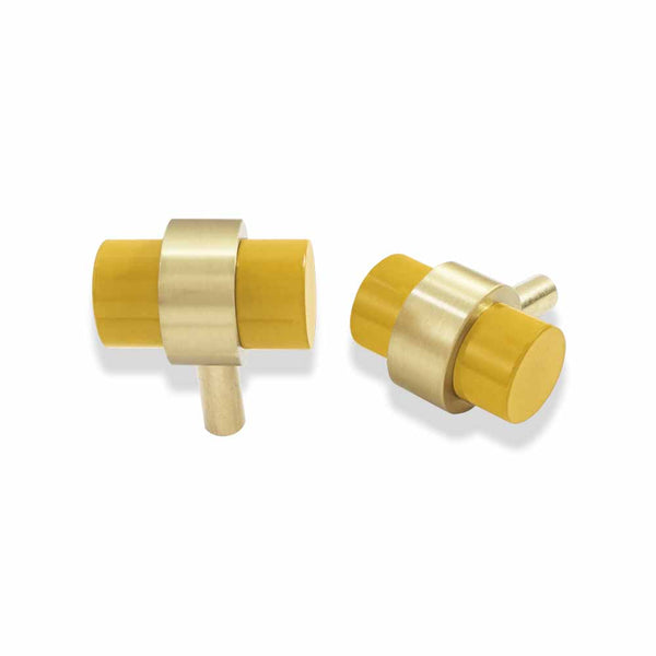 brass and ochre persona knob dutton brown hardware