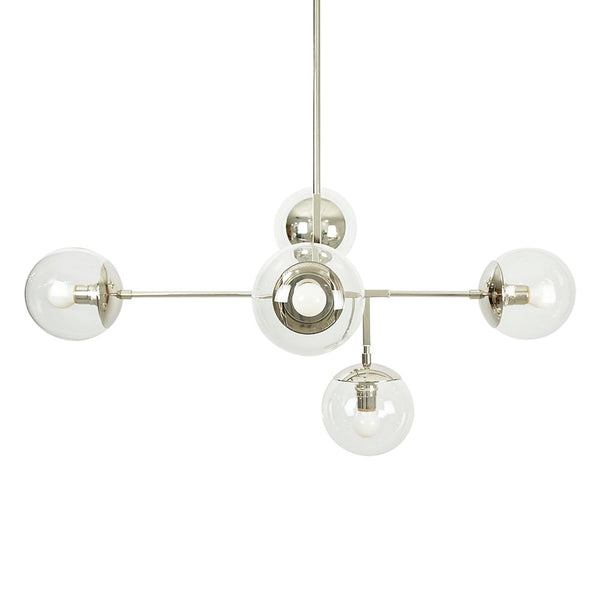 chandelier ceiling light fixture prisma 35 inch nickel white globe mid century modern