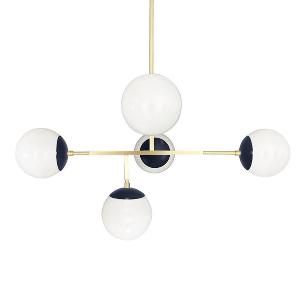 "brass navy color prisma globe chandelier 35"" dutton brown lighting"