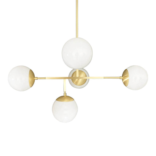 brass prisma globe chandelier lighting by dutton brown mid century modern geometric light fixture