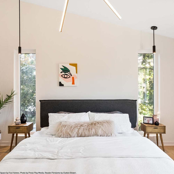 black Reader pendant bedroom lighting by Dutton Brown. Space by Fox Homes. Photo by Press Play Media. _hover