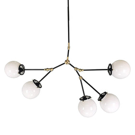 chandelier ceiling light fixture reef branch 40 inch black brass white globe mid century modern lighting
