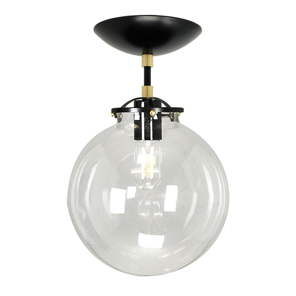 flush mount ceiling light fixtures reef clear globe 10 inch black brass mid century modern custom lighting