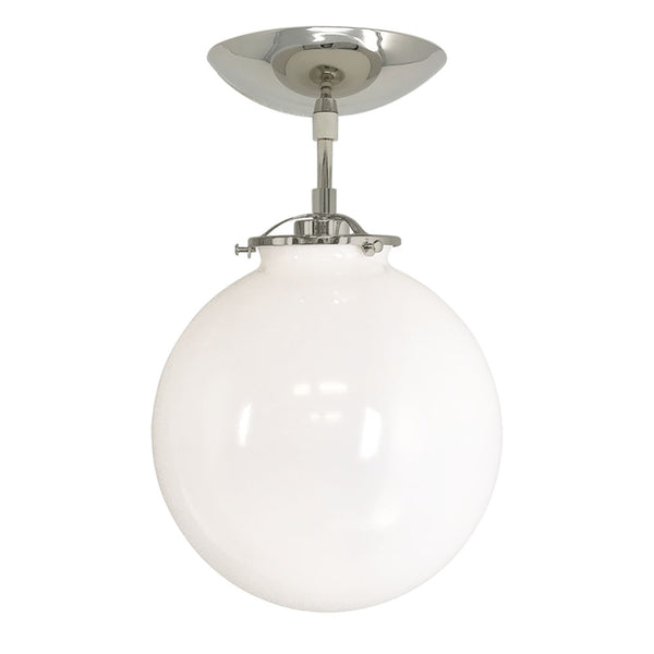 flush mount ceiling light fixtures reef white globe 10 inch nickel mid century modern custom lighting
