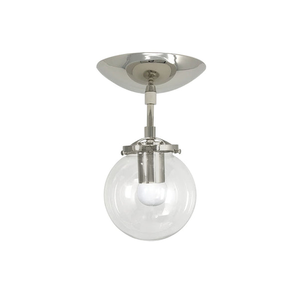 flush mount ceiling light fixtures reef clear globe 6 inch nickel mid century modern custom lighting