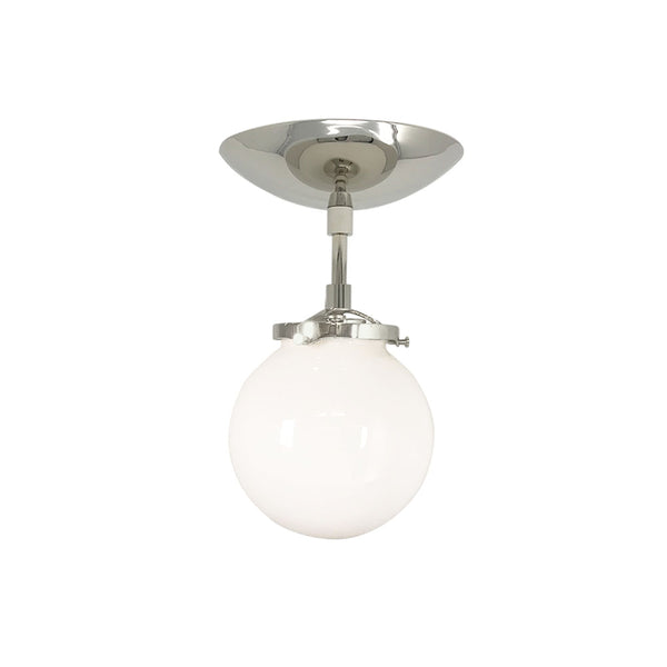 flush mount ceiling light fixtures reef white globe 6 inch nickel mid century modern custom lighting