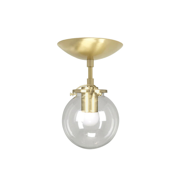 flush mount ceiling light fixtures reef clear globe 6 inch brass mid century modern custom lighting