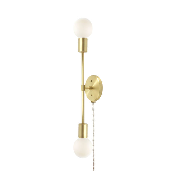 brass scepter plug in wall sconce 18 inch dutton brown design lighting
