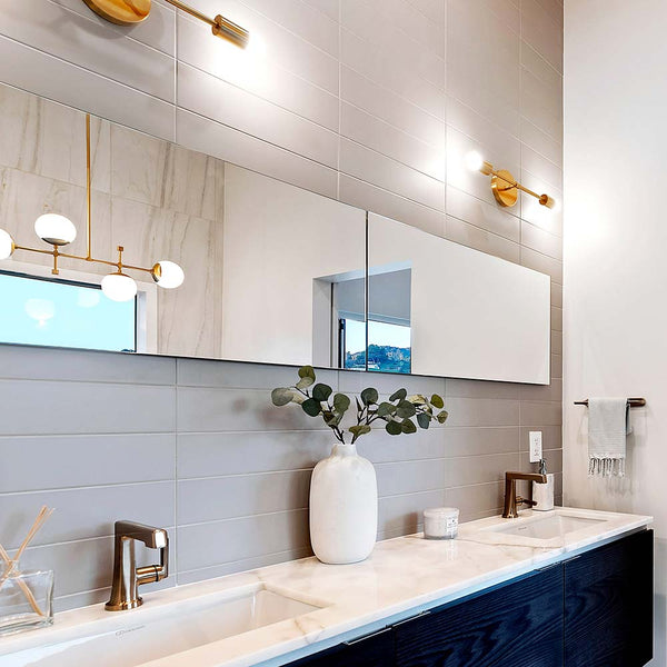"scepter sconce 18"" bathroom vanity lighting Dutton Brown. Space by Haig Youredjian. Photo by Greg Frost Photography."
