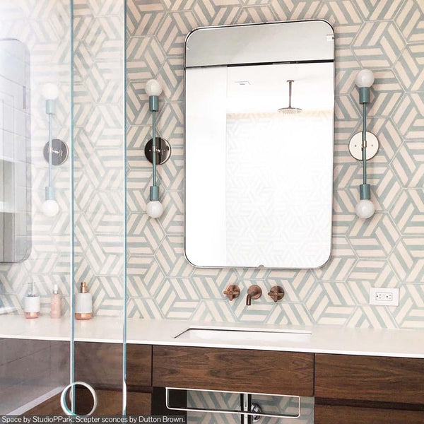 mint nickel scepter sconce 18 bathroom vanity lighting by Dutton Brown. Space by StudioPPark.