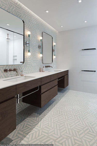 mint nickel scepter sconce 18 bathroom vanity lighting by Dutton Brown. Space by StudioPPark. Photo by Jodi Kivort. _hover
