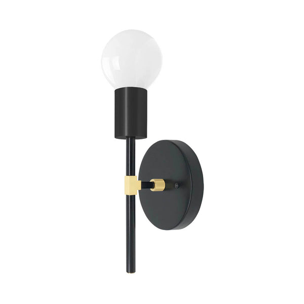 black and brass sicle wall sconce dutton brown lighting