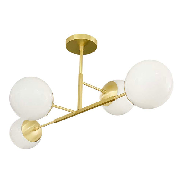 "brass status globe flush mount 35"" lighting by dutton brown."