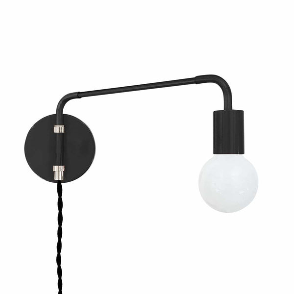 black nickel sway plug-in sconce adjustable swing arm lighting by dutton brown