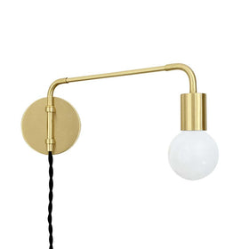 brass sway plug-in sconce adjustable swing arm lighting