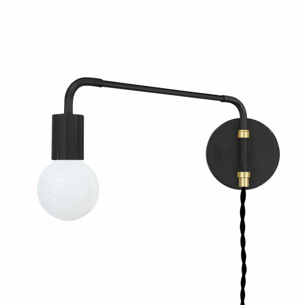 black brass sway plug-in sconce adjustable swing arm lighting by dutton brown _hover