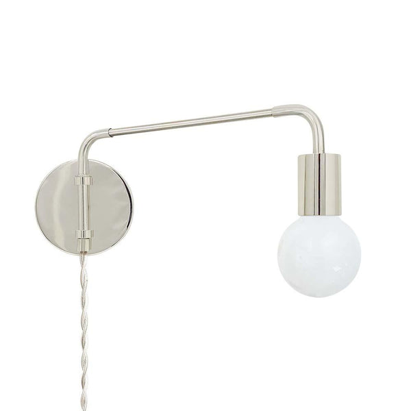 nickel sway plug-in sconce adjustable swing arm lighting