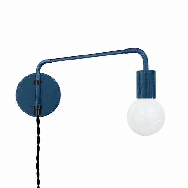 black slate blue sway plug-in bedroom wall sconce dutton brown lighting
