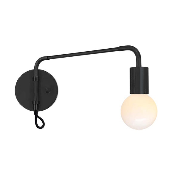 black sway adjustable swing arm sconce lighting