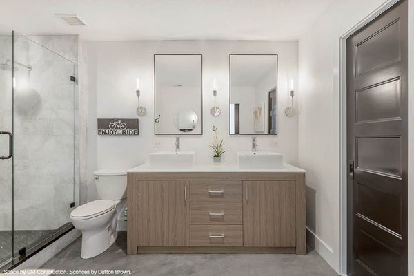 white nickel tall snug sconce wall lighting bathroom vanity lighting dutton brown. Space by GM Construction. _hover